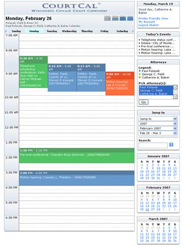 CourtCal, Wisconsin circuit court calendar tool for attorneys